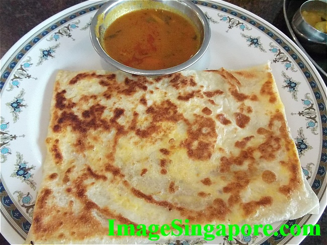 Roti prata with eggs and onions - RM 3